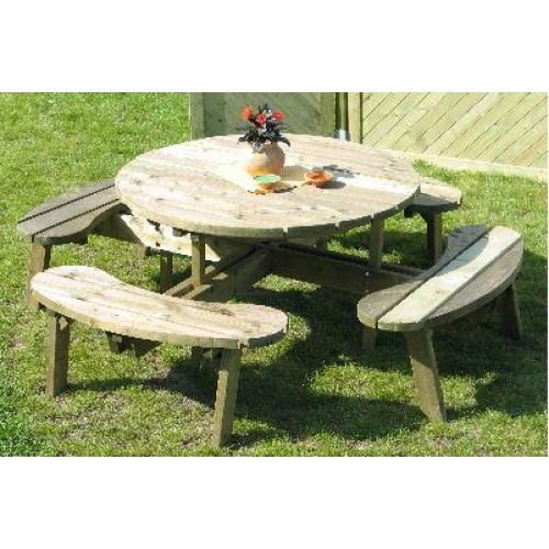Heavy Duty 8 Seater Round Picnic Table