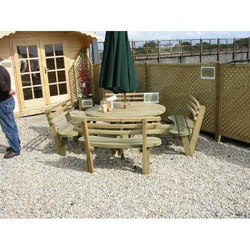 Heavy Duty 8 Seater Round Picnic Table With Backs