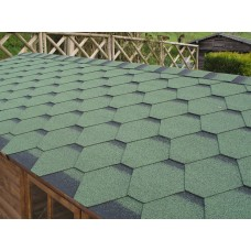 Bitumen roof shingles green
